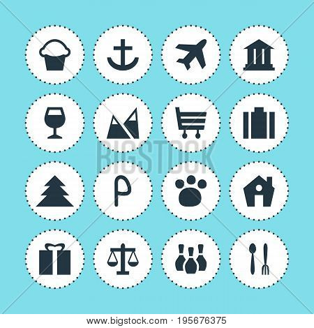 Vector Illustration Of 16 Travel Icons. Editable Pack Of Briefcase, Landscape, Cafe Elements.