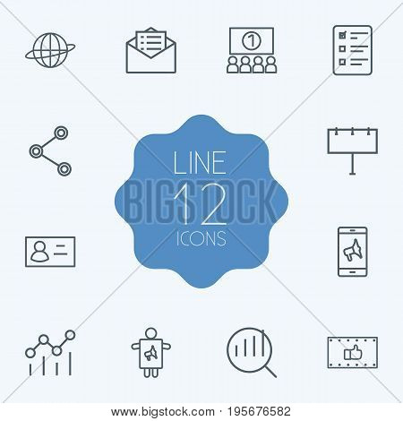 Set Of 12 Advertising Outline Icons Set.Collection Of Business Card, Research, Ad Banner And Other Elements.