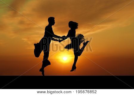 Dance silhouette couple dancing ballroom dancing on sunset  background