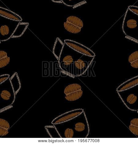 Seamless pattern with cup with coffee and grain embroidery stitches imitation. Embroidery background with cup of coffee. Embroidery coffee grain seamless pattern.