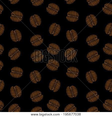 Seamless pattern with little coffee grain embroidery stitches imitation. Embroidery background with coffee. Embroidery coffee grain seamless pattern.