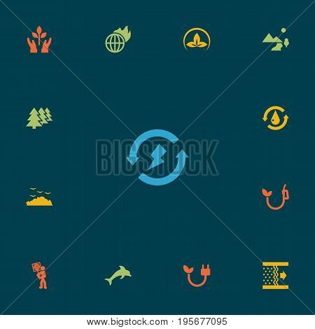 Set Of 13 Bio Icons Set.Collection Of Warm, Reforestation, Treatment And Other Elements.