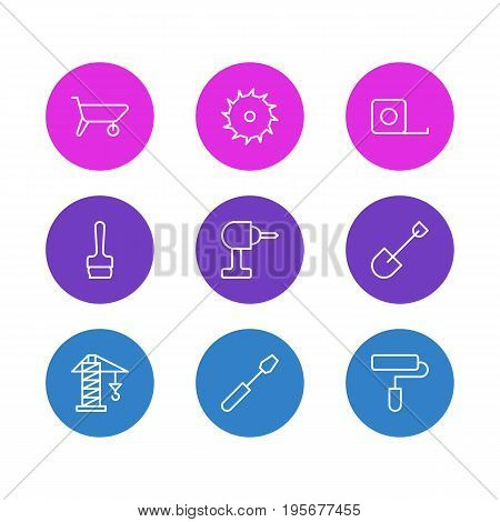 Vector Illustration Of 9 Industry Icons. Editable Pack Of Turn Screw, Circle Blade, Spade And Other Elements.