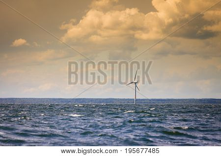 Wind Turbines Farm In Baltic Sea, Denmark