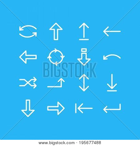 Vector Illustration Of 16 Arrows Icons. Editable Pack Of Exchange, Update, Turn And Other Elements.