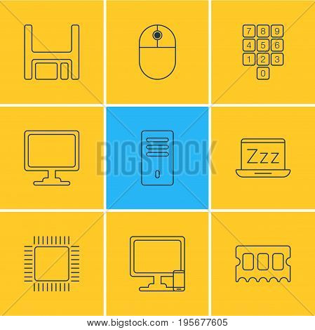Vector Illustration Of 9 Notebook Icons. Editable Pack Of Phone Near Computer, Laptop, Mainframe And Other Elements.