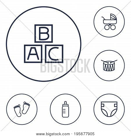 Set Of 6 Child Outline Icons Set.Collection Of Alphabet Cubes, Carriage, Footprints And Other Elements.