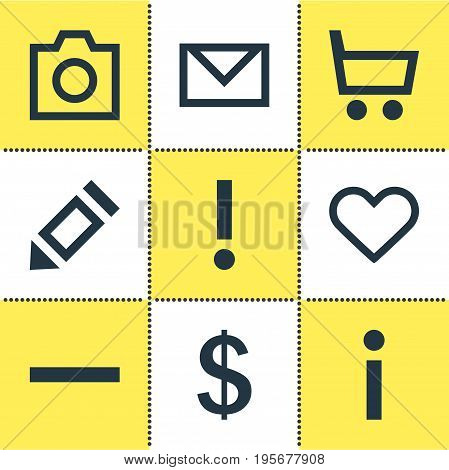 Vector Illustration Of 9 User Icons. Editable Pack Of Info, Alert, Letter And Other Elements.
