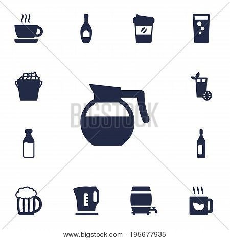 Set Of 13 Beverages Icons Set.Collection Of Espresso, Fridge, Lemonade And Other Elements.
