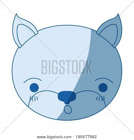 blue color shading silhouette cute face of kitten surprised expression vector illustration