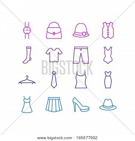 Vector Illustration Of 16 Garment Icons. Editable Pack Of Swimwear, Singlet, Hosiery And Other Elements.
