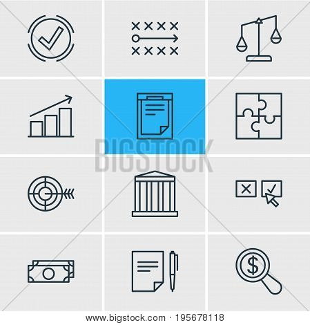 Vector Illustration Of 12 Business Icons. Editable Pack Of Goal, Tactics, File And Other Elements.