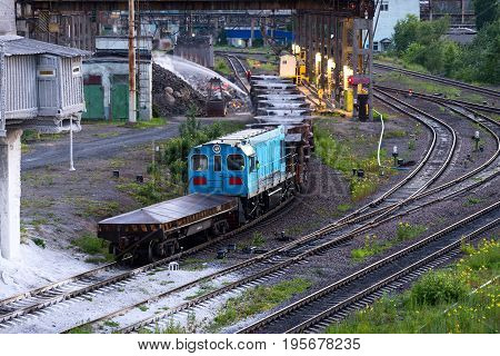 Freight Railroad Train With Bowls Of Molten Metallurgical Slag.