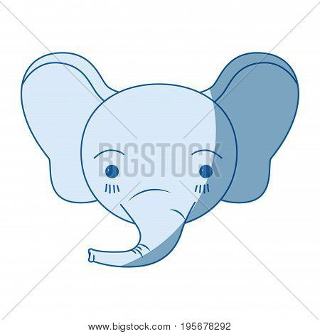 blue color shading silhouette cute face of elephant tranquility expression vector illustration
