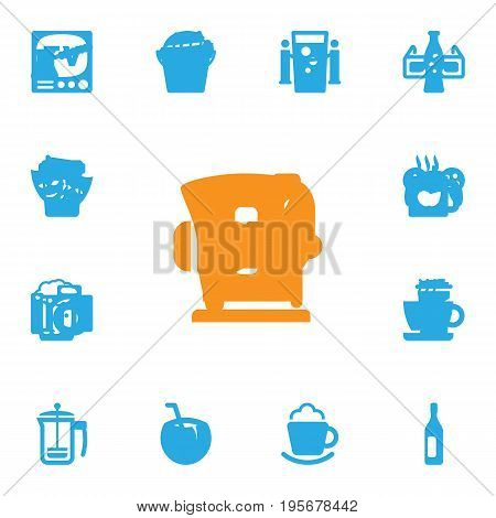 Set Of 13 Beverages Icons Set.Collection Of Cup, Fridge, Pot And Other Elements.
