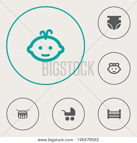 Set Of 6 Kid Icons Set.Collection Of Barrel, Girl, Nappy And Other Elements.