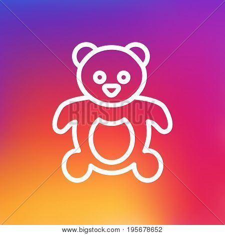 Isolated Bear Outline Symbol On Clean Background. Vector Teddy Element In Trendy Style.