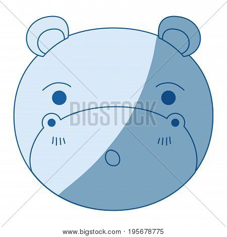 blue color shading silhouette cute face of hippo surprised expression with eyes closed vector illustration