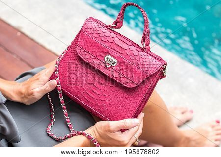 Girl holding luxury snakeskin python handbag on a swimming pool background.