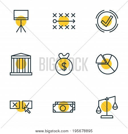 Vector Illustration Of 9 Management Icons. Editable Pack Of Bag , Solution , Board Stand Elements.