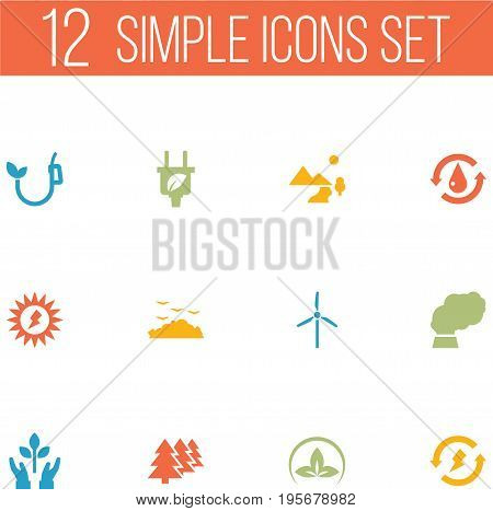 Set Of 12 Ecology Icons Set.Collection Of Friendly, Rubbish, Leaf And Other Elements.