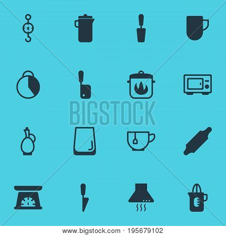 Vector Illustration Of 16 Cooking Icons. Editable Pack Of Measuring Tool, Tea Cup, Carafe And Other Elements.