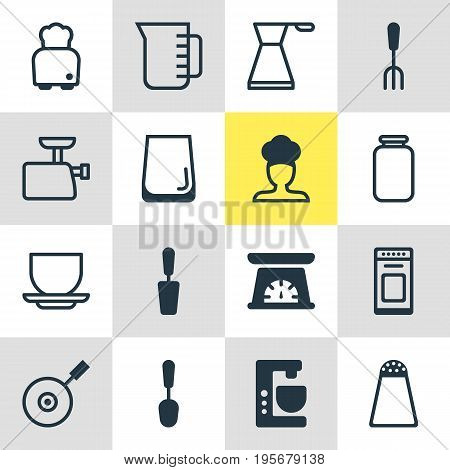 Vector Illustration Of 16 Cooking Icons. Editable Pack Of Oven, Kettle, Pepper Container And Other Elements.