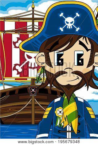 Cute Cartoon Pirate Captain with Pirates Ship