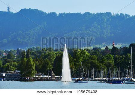 Fountain At The Zurich Lake, Switzerland