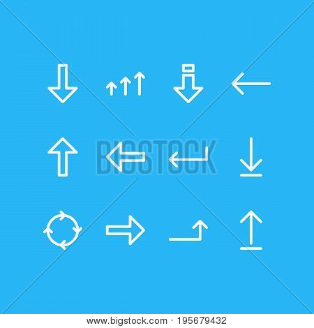 Vector Illustration Of 12 Arrows Icons. Editable Pack Of Submit, Increase, Turn And Other Elements.