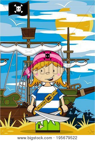 Girl Pirate & Ship On Beach