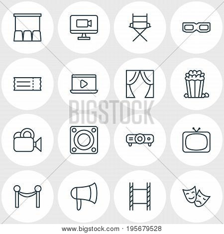 Vector Illustration Of 16 Cinema Icons. Editable Pack Of Shooting Seat, Filmstrip, Coupon And Other Elements.