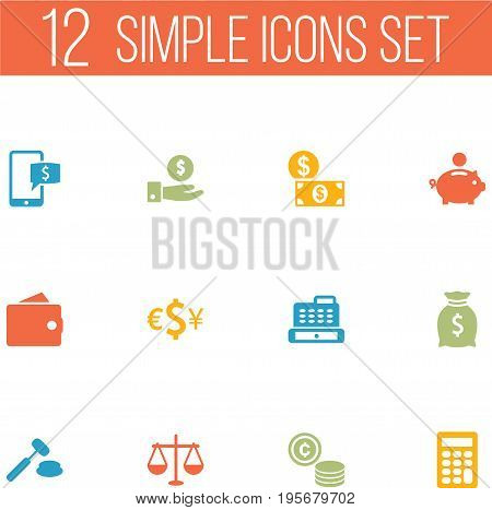 Set Of 12 Budget Icons Set.Collection Of Sack, Purse, Money And Other Elements.