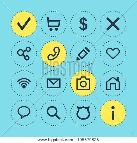 Vector Illustration Of 16 User Icons. Editable Pack Of Letter, Pen, Info And Other Elements.