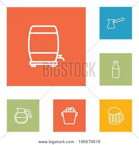 Set Of 6 Beverages Outline Icons Set.Collection Of Pot, Ice Bucket, Wine Cask And Other Elements.
