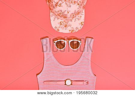 Summer Hipster Girl Accessories Set. Fashion Design. Hot Summer Sunny Vibes. Trendy Cap, fashion Sunglasses, Top and Watch. Creative Bright Sweet Style. Vanilla Pink Pastel Color. Minimal, Art