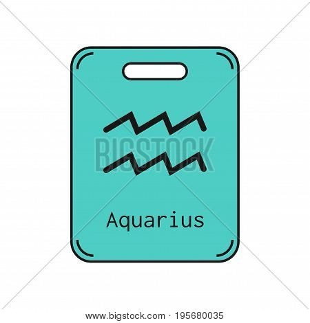 Aquarius. Sign of the zodiac. Flat symbol horoscope and predictions. Vector object for design
