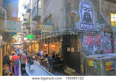 MELBOURNE AUSTRALIA - JULY 7, 2017: Unidentified people visit Center place cafe street.