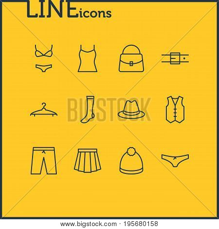 Vector Illustration Of 12 Clothes Icons. Editable Pack Of Singlet, Swimming Trunks, Apparel And Other Elements.