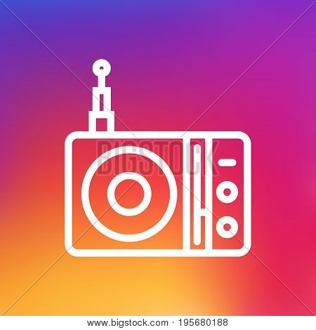 Isolated Radio Outline Symbol On Clean Background. Vector Station  Element In Trendy Style.