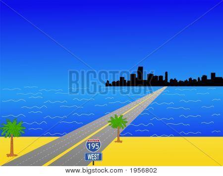 Miami Florida Skyline and interstate 195 illustration poster