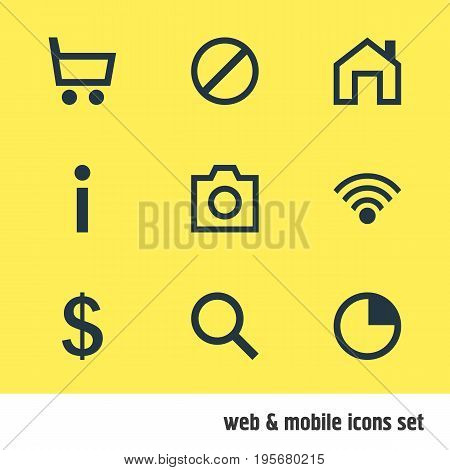 Vector Illustration Of 9 Member Icons. Editable Pack Of Money Making, Access Denied, Stopwatch And Other Elements.