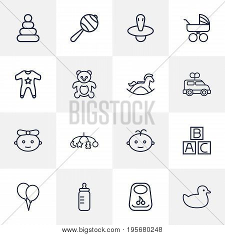 Set Of 16 Baby Outline Icons Set.Collection Of Smock, Bottle, Pyramid And Other Elements.