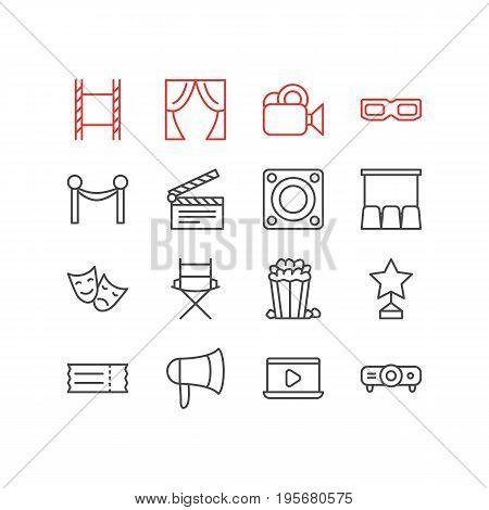 Vector Illustration Of 16 Film Icons. Editable Pack Of Shooting Seat, Monitor, Clapper And Other Elements.