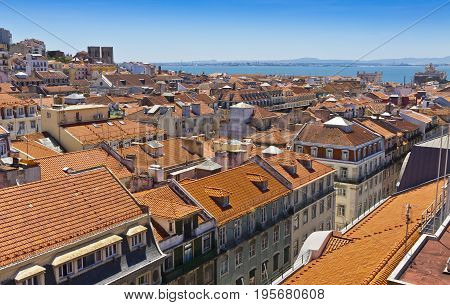 Skyline Aerial View Of Lisbon, Portugal