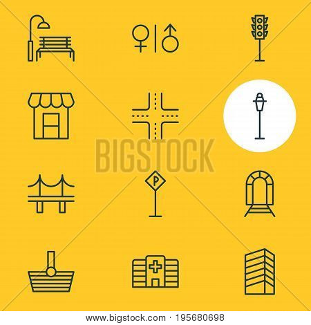 Vector Illustration Of 12 Infrastructure Icons. Editable Pack Of Awning, Intersection, Basket And Other Elements.