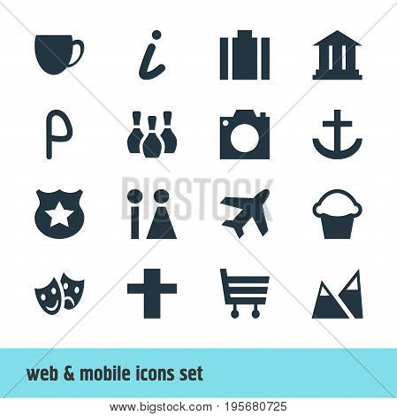 Vector Illustration Of 16 Map Icons. Editable Pack Of Toilet, University, Cross And Other Elements.