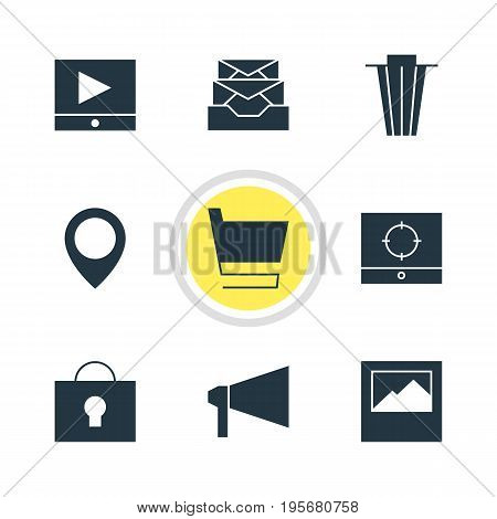 Vector Illustration Of 9 Internet Icons. Editable Pack Of Trash, Keyhole, Messages And Other Elements.
