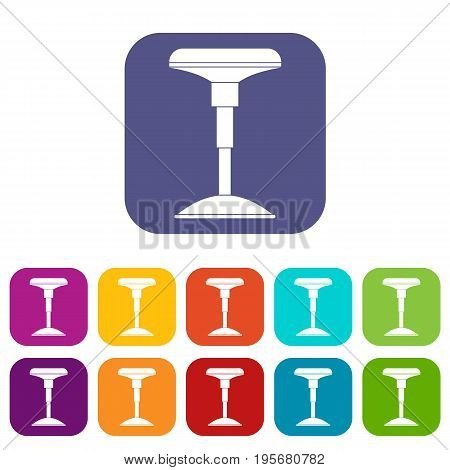Bar stool icons set vector illustration in flat style In colors red, blue, green and other