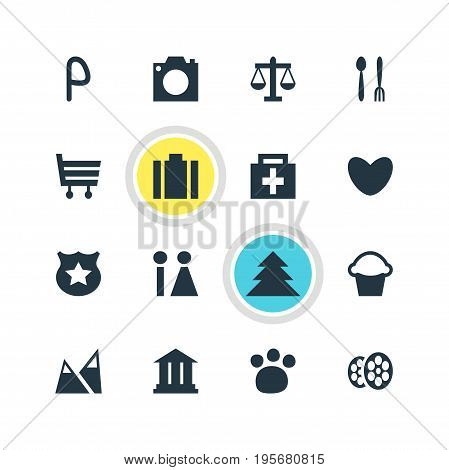 Vector Illustration Of 16 Check-In Icons. Editable Pack Of Toilet, Photo Device, Briefcase And Other Elements.